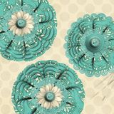 Abstract Paper Doily Flowers Polka Dots Royalty Free Stock Image