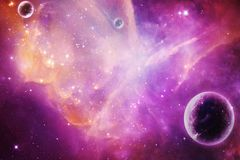 Abstract Artistic Planet Over A Magenta Nebula Galaxy Background. Artistic violet planet over a glowing abstract nebula galaxy artwork stock photography