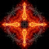 Abstract artistic religious unique glorifying smoky flammable energetic cross artwork on a black background stock illustration