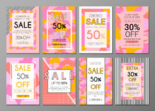 Abstract artistic sale social media banners set Stock Photos