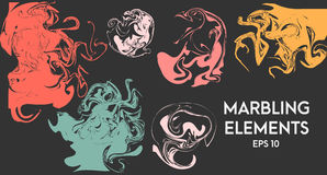 Abstract artistic shapes. Vector design elements. Ebru, marbling effect. Royalty Free Stock Photography