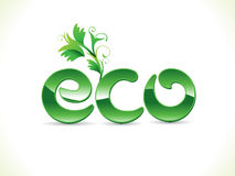 Abstract artistic shiny green eco text Stock Photography