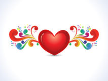 Abstract artistic shiny heart with colorful floral. Vector illustration stock illustration