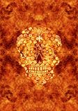 Abstract religious artistic colorful burning skull in fiery artwork as a unique background royalty free illustration