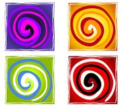 Abstract Artistic Spiral Tiles. A clip art illustration of 4 abstract artistic tiles featuring colorful swirls Stock Images