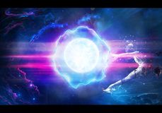 Abstract artistic unique digital painting rendering illustration of a man shot in space by an energy ball. Artistic unique 3d rendering illustration of a digital royalty free illustration