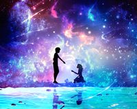 Abstract Artistic Unique Multicolored Digital Painting Of Two Lovers proposing to each other In Another Dimension vector illustration