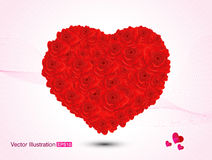 Abstract artistic valentine red rose heart vector illustration. Red rose Abstract artistic detailed valentine heart vector illustration royalty free illustration
