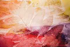 Abstract artistic watercolor background, autumn leaf. Abstract artistic watercolor background with autumn leaf prints on paper vector illustration