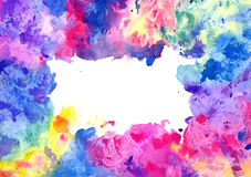Abstract artistic watercolor background (mixed colors, pink, blue, yellow, green and red splashes). Hand painted watercolor background, abstract bright colors Royalty Free Stock Photos