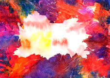 Abstract artistic watercolor background (mixed colors, red). Hand painted watercolor background, abstract bright colors Royalty Free Stock Images