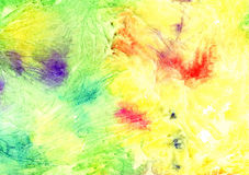 Abstract artistic watercolor background (yellow with bright splashes). Hand painted watercolor background, abstract bright colors Stock Photo