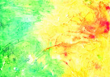 Abstract artistic watercolor background (yellow, green and red). Hand painted watercolor background, abstract bright colors Royalty Free Stock Photo