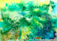 Abstract artistic watercolor green background. Abstract artistic watercolor green yellow blue background. Looks like bird`s view of earth Stock Photos