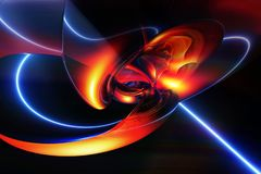 Abstract Artistiek Digitaal Modern Vlot Kunstwerk die een Laserstraal uit samentrekken royalty-vrije illustratie