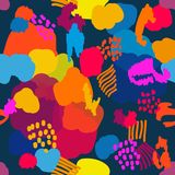 Abstract artsy background. Colorful chaotic spots, dots and lines. Trendy design for textile, cards and packaging royalty free illustration