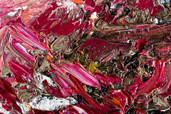 Abstract artwork background painting. Close-up view of an original abstract oil painting on canvas Stock Photo