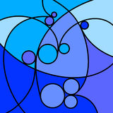 Abstract Artwork Blue Curves and Circles. An abstract digital drawing featuring curved lines and circles, in tones of blue royalty free illustration