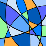 Abstract Artwork Blue. An abstract digital drawing featuring random shapes and bright colors, in tones of blue with orange and green contrasts stock illustration