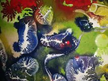 Blue ink painting. An abstract artwork with blue ink blots stock images