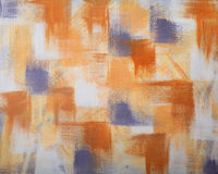 Abstract Artwork on Canvas. With Blue, Yellow and Orange squares Stock Photography