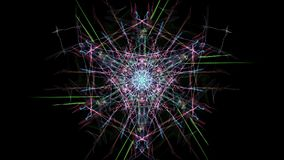 Abstract artwork. Colorful lines with particles on black background. Silk symmetry series Stock Photos