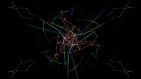 Abstract artwork. Colorful lines with particles on black background. Silk symmetry series Royalty Free Stock Photography
