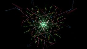 Abstract artwork. Colorful lines with particles on black background. Silk symmetry series Stock Photography