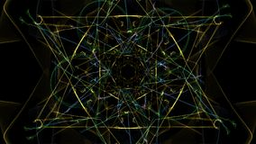 Abstract artwork. Colorful lines with particles on black background. Silk symmetry series stock illustration