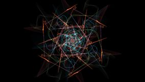 Abstract artwork. Colorful lines with particles on black background. Silk symmetry series Stock Image