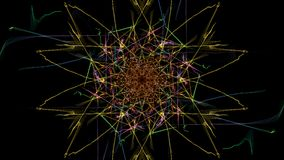 Abstract artwork. Colorful lines with particles on black background. Silk symmetry series Stock Images