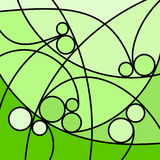 Abstract Artwork Green Curves and Circles. An abstract digital drawing featuring curved lines and circles, in tones of green vector illustration