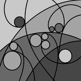 Abstract Artwork Grey Curves and Circles. An abstract digital drawing featuring curved lines and circles, in tones of grey Stock Images