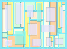 Abstract Artwork Pastel Blocks Blue. An abstract digital drawing featuring a variety of rectangles in soft pastel colors, with a bright blue background Royalty Free Stock Photo