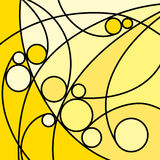 Abstract Artwork Yellow Curves and Circles Royalty Free Stock Photography