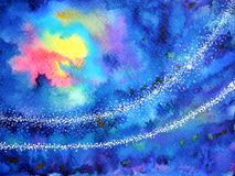 Abstract artwork yellow red light sun moon on dark blue sky night. Watercolor painting illustration background hand drawn Royalty Free Stock Photos