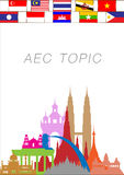 Abstract of Asean Economic Community, AEC. Stock Image