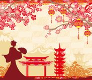 Abstract Asian Landscape and Asian girl. Vector Illustration Vector Illustration