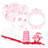 Abstract Asian Landscape and beautiful geisha. Doodle illustration Stock Photography