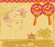 Abstract Asian Landscape and beautiful geisha. Illustration Royalty Free Stock Images