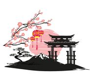 Abstract Asian Landscape card. Vector Illustration Stock Image