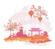Abstract Asian Landscape card. Vector Illustration Vector Illustration