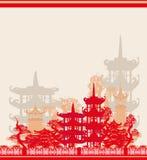Abstract Asian Landscape card. Vector Illustration Stock Photos