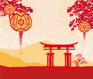 Abstract Asian Landscape card Royalty Free Stock Photography