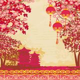 Abstract Asian Landscape card Royalty Free Stock Images