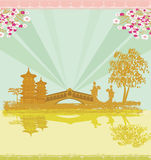 Abstract Asian Landscape and two geishas Royalty Free Stock Images