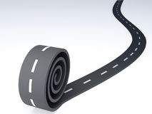 Abstract asphalt winding road on white. Image of Abstract asphalt winding road. 3d illustration royalty free illustration