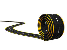 Abstract Asphalt Winding Road with Yellow Line on White Background. 3d illustration stock illustration