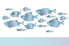 Abstract assorted  blue silver fish pattern for card. Abstract assorted  blue silver  fish pattern for card, invitation, poster, graphic design. Concept Royalty Free Stock Images