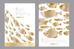Abstract assorted gold fish pattern for card. Invitation, poster, graphic design. Concept decorative seafood vector illustration stock illustration